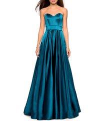 women's la femme strapless satin ballgown, size 20 - blue/green