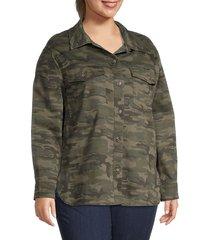 sanctuary women's plus camo-print shirt jacket - mother nature - size 3x (22-24)