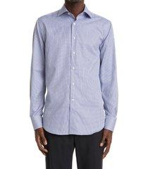 men's canali geometric dress shirt, size 17 - blue