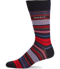 boss hugo boss men's striped crew socks - black red