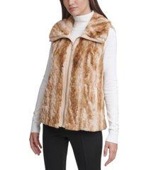 calvin klein plus size braided faux-fur vest