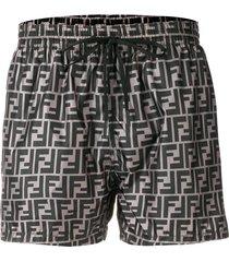 fendi logo print swim shorts - grey