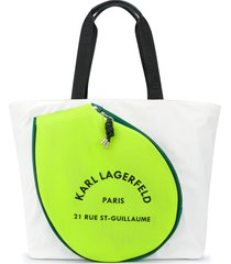 karl lagerfeld rue st guillaume tennis tote - white