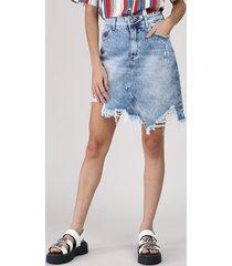 saia jeans feminina curta assimétrica destroyed azul médio