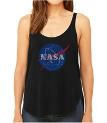 la pop art women's premium word art flowy tank top- nasa's most notable missions