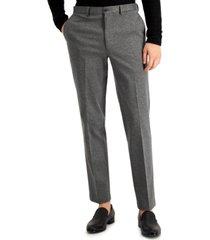 calvin klein men's slim-fit stretch gray knit suit pants