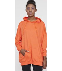 poleron hoodie canguro oversize naranjo corona