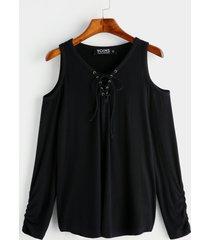 negro con cordones diseño camiseta de manga larga con hombros descubiertos