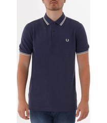 fred perry m3600 twin tipped polo shirt - phantom & snow white m3600-h39