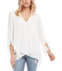 karen kane ruffled-sleeve cross-over hem top