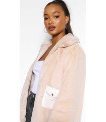 faux fur jas met zak detail, steenrood