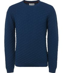 pullover, r-neck, relief jacquard s shadow blue