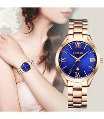 reloj dama casual curren elegante acero análogo fechador