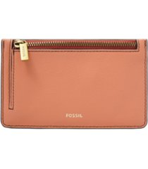 fossil women's logan zip leather card case