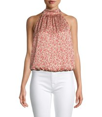 alice + olivia by stacey bendet women's maris striped floral blouson top - pink - size xs