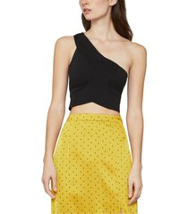 bcbgmaxazria one-shoulder knit cropped top