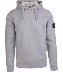 stone island man grey hoodie with logo patch