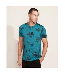 camiseta masculina slim listrada com folhagem manga curta gola careca azul petróleo