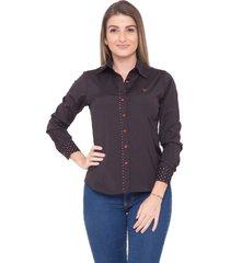 camisa pimenta rosada camille preta