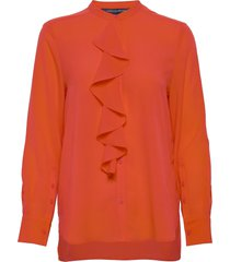 elna light ruffle shirt blus långärmad orange french connection
