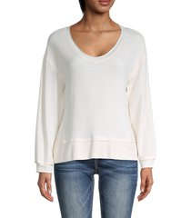 for the republic women's v-neck dropped-shoulder sweater - oatmeal heather - size s