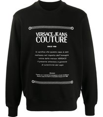 versace jeans couture logo-print sweatshirt - black