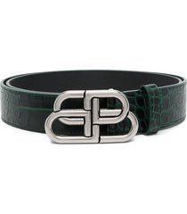 balenciaga bb crocodile-effect belt - green