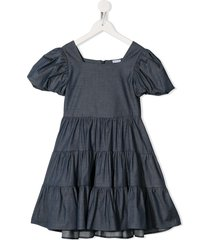 piccola ludo chambray flared dress - blue