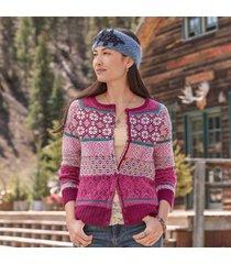 sundance catalog women's isle of beauty cardigan in port large