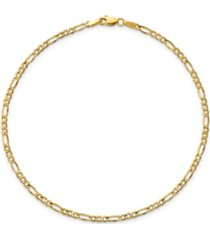 figaro chain anklet in 14k yellow gold