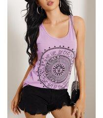 yoins basics purple disk letter round cuello camiseta sin mangas informal