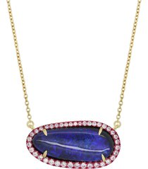 opal and pink e-coating layering necklace