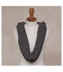 alpaca blend hooded infinity scarf, 'elegant shade in graphite' (peru)