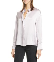 women's vince wrap front long sleeve silk blouse, size xx-small - purple