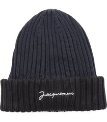 jacquemus le bonnet black and blue beanie in cotton with logo