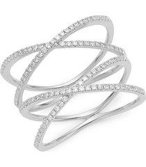14k white gold & diamond double x ring