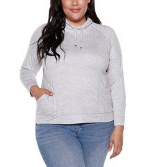 belle by belldini plus size women's drawstring cowl neck top