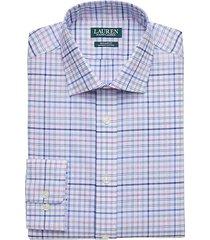 lauren by ralph lauren men's blue & purple plaid regular fit dress shirt - size: 19 34/35