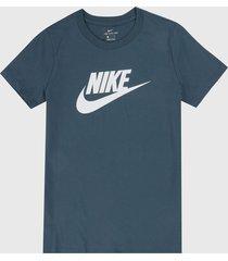 camiseta azul-blanco nike essential icon futura
