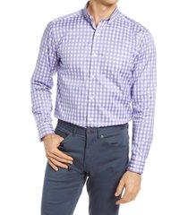 men's johnston & murphy gingham cotton twill button-down shirt, size xxx-large - purple