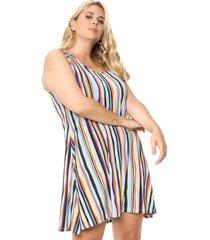vestido azul mecano rainbow plus size