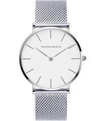 reloj de cuarzo con correa de malla de acero inoxidable-