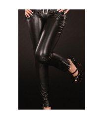 sexy skinny jeans in lederlook met strass steentjes gesp zwart