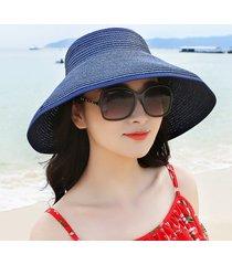 donna cappello estivo di paglia pieghevole con nodo a farfalla con tesa larga da spiaggia viaggio
