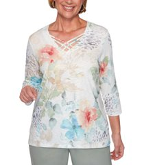 alfred dunner petite chesapeake bay printed embellished top
