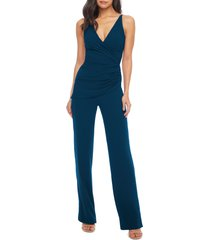 women's dress the population sam ruched jumpsuit, size x-small - blue/green