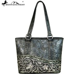 montana west silver studs, floral embossed embroidered collection tote handbag