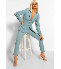 getailleerde broek met ingekeepte tailleband, leisteenblauw