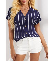 blusa de manga corta a rayas con cuello en v de yoins