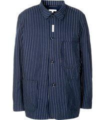 engineered garments striped shirt jacket - blue